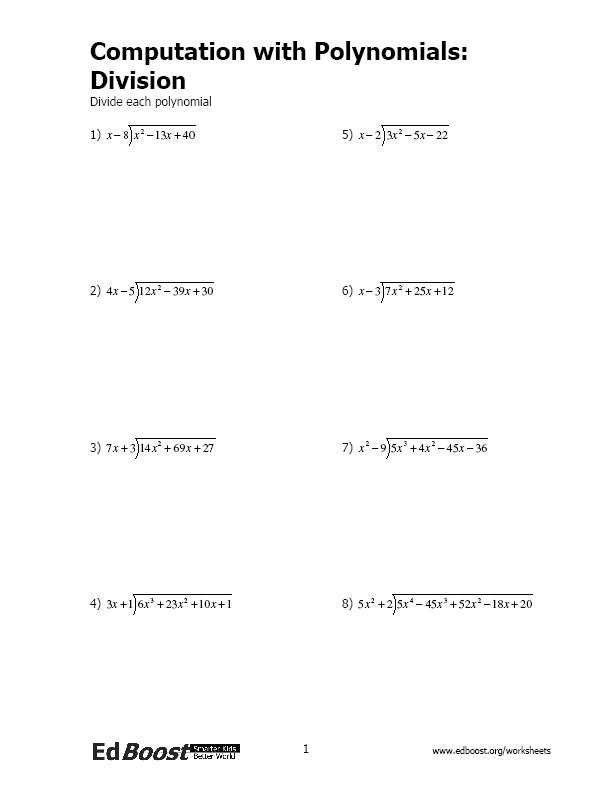 Multiplying And Dividing Polynomials Worksheet Grade 9 Integers – Polynomial Long Division Worksheets