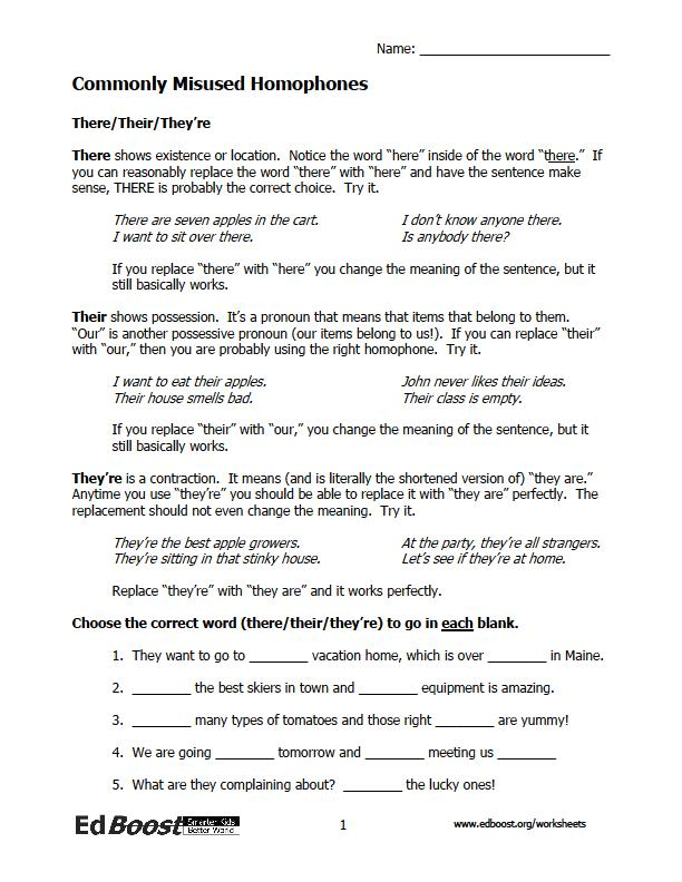 Printables Grammar Worksheets For 7th Grade grammar edboost homophone worksheets