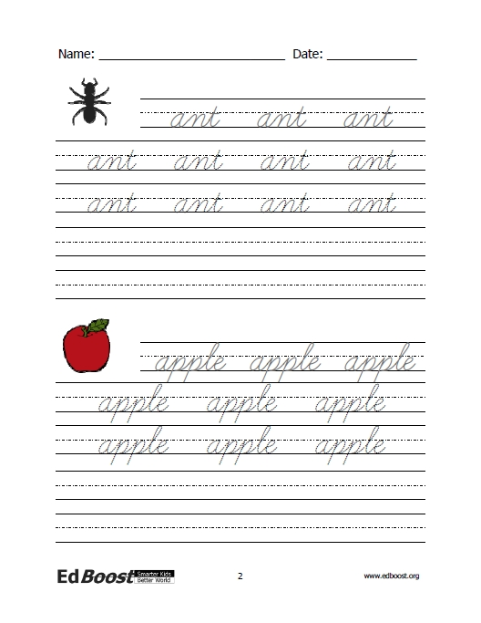 Cursive writing worksheets words