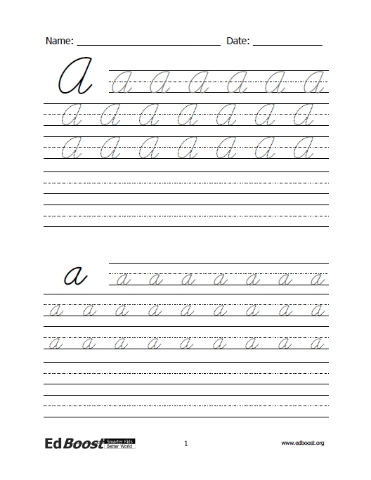 Letters - Cursive Practice - Letters and Words | EdBoost