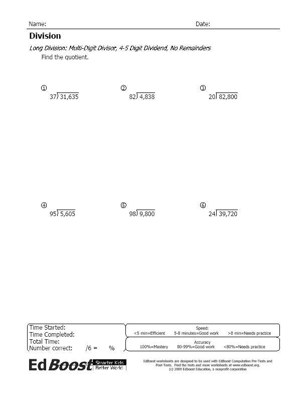 long division no remainders multi digit divisor 4 5. Black Bedroom Furniture Sets. Home Design Ideas