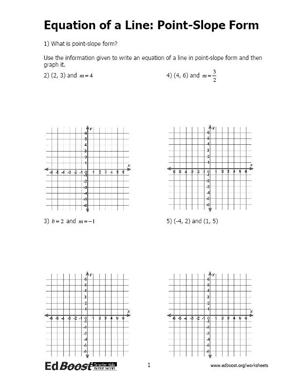 point slope form practice worksheet answers  Equation of a Line: Point-Slope Form | EdBoost