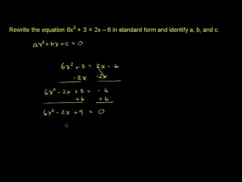 Quadratic Equations in Standard Form