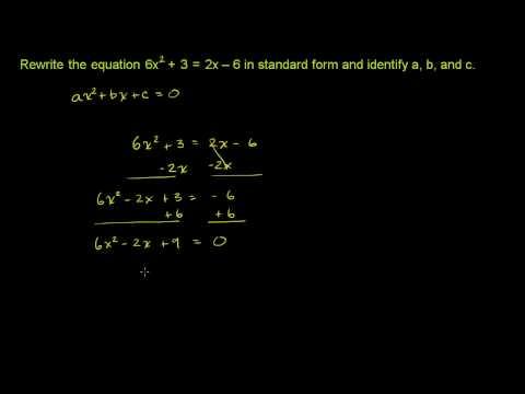 Quadratic Equations in Standard Form